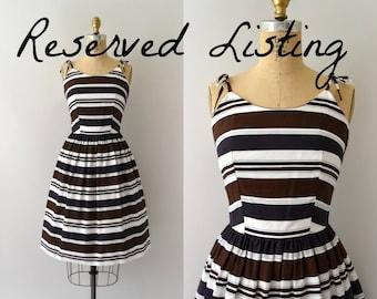 RESERVED LISTING -- Vintage 1950s Sundress - 50s Striped Cotton Sun Dress