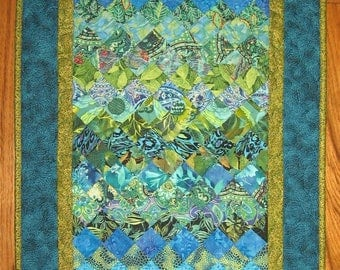 Blue Green Abstract Art Quilt Fabric Wall Hanging, Textile Art Contemporary Art 38 x 20""