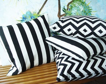 Canopy Stripe and Zig Zag Stripe Pillow Covers Black and White Pillow Covers Modern & Canopy stripe | Etsy