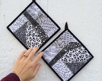 Black and White Potholders