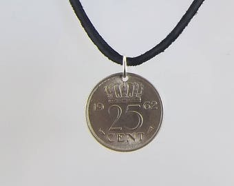 1962 Netherlands Coin Necklace, 25 Cents, Coin Pendant, Mens Necklace, Womens Necklace, Leather Cord, Vintage, Handmade