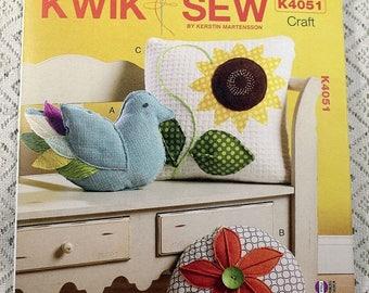 ON SALE Kwik Sew 4051, Pillows Patterns, Decorative Pillows Pattern, Bird Pillow Pattern, Round Pillow Pattern, Sunflower Pillow Pattern, Un