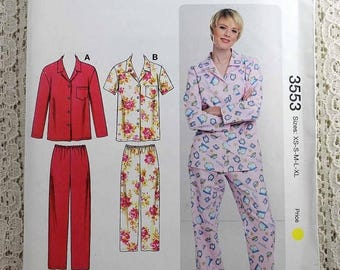ON SALE Kwik Sew 3553, Misses' Pajamas Sewing Pattern, PJ Sewing Pattern, Two Piece Pajama Pattern, Misses' Sizes Xs to Xl, Uncut