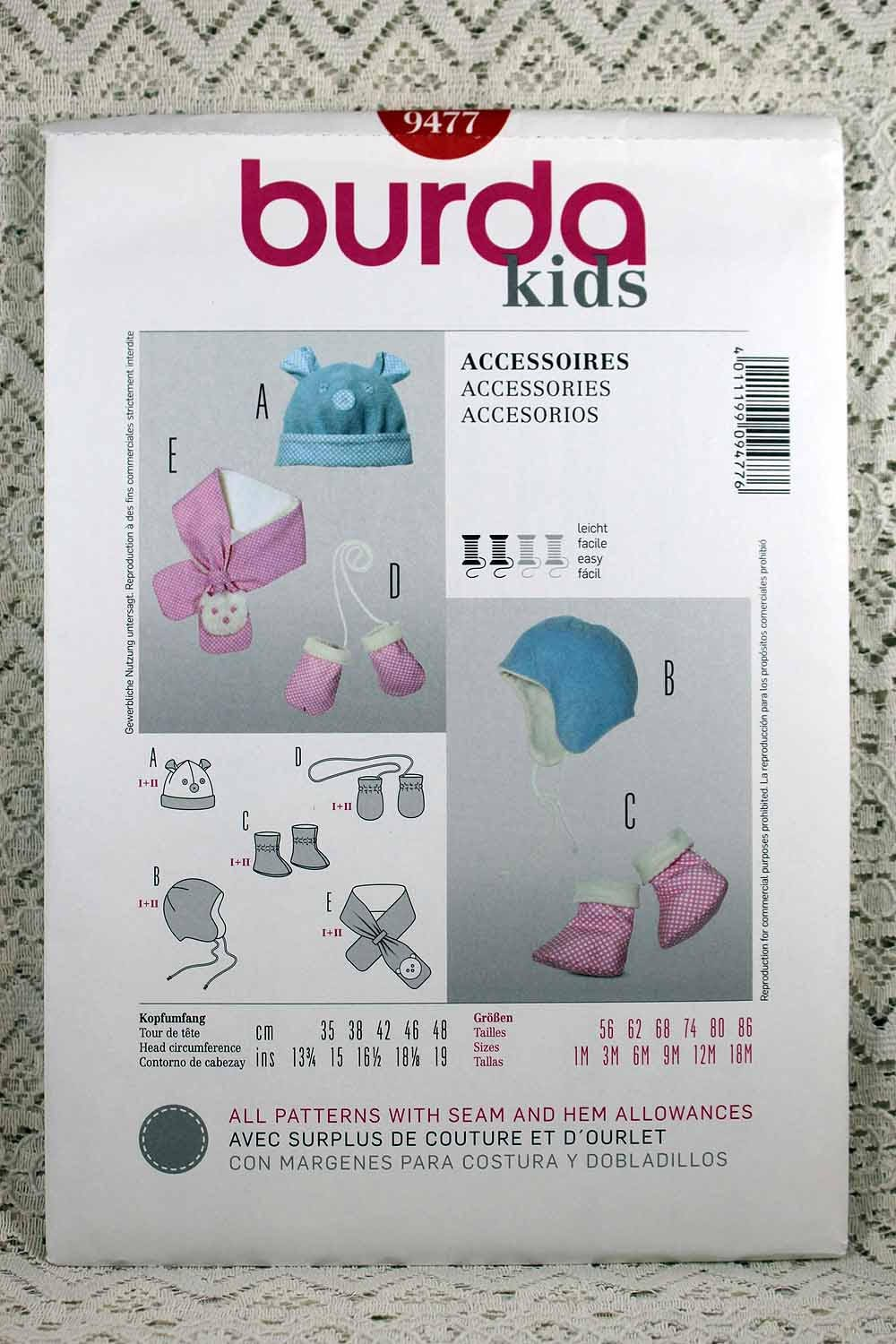 Burda 9477 baby accessories sewing pattern baby hat sewing sold by allyssecondattic jeuxipadfo Image collections