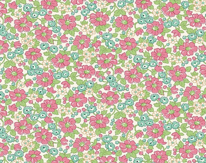 Prim and Proper Fabric by Lindsay Wilkes from The Cottage Mama for Riley Blake Designs and Penny Rose Fabrics - Pink Floral