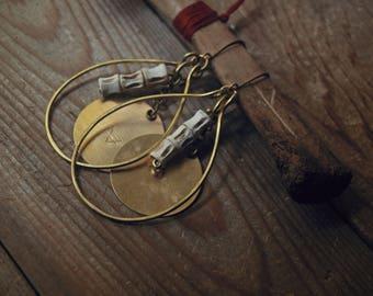 Wild Earth - handmade brass earring with fish vertebrae, stamped