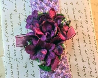 ON SALE Vintage Millinery Flower Headband- Purple Wine on Lavendar Headband - Floral Headband - Black Friday Sale