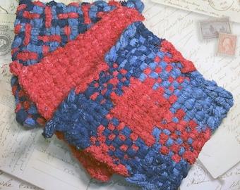 David's Potholders  - Woven Potholders - Cotton Potholders - Red Navy and Blue Hot Pad - Cotton Trivet - Handmade -Set of 3