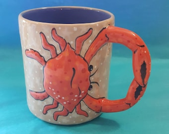 MUG, Hand Painted Mug, Crab mug, Ceramic mug, Whimsical Mug, Coffee Mug, Tea Mug, Hot chocolate Mug, Cocoa Mug, Large Mug, Unique Mug, Crab