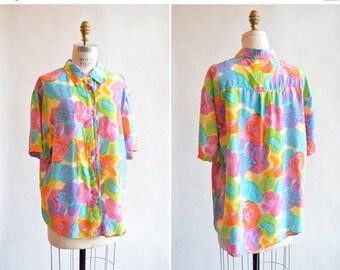 25% off Storewide // Vintage FLORAL silk blouse