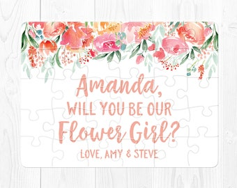 Will You Be My Flower Girl Puzzle Flower Girl Gift Proposal Flower Girl Proposal Flower Girl Card Peach  Flower Girl Puzzle Proposal Pink