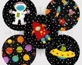 CLEARANCE! SPACE Out of This WORLD Clip Art Images Graphics Bottle Cap Astronaut Rocket Alien Planets Universe Instant Digital Download