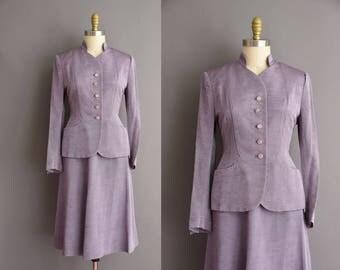 50s lavender 2pc suit Large vintage 1950s suit dress