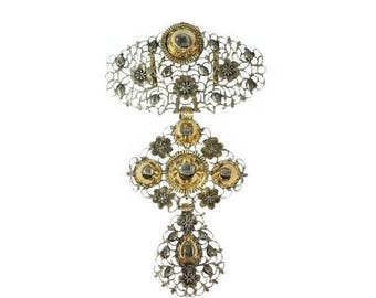 ON SALE Rare antique cross pendant gold diamond à la Jeannette 18th Century
