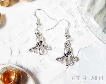 Antique Silver Octopus Earrings, Silver Ocean Earrings, Sea Creature Earrings, Aquarium Earrings, Merpunk Earrings, Marine Biologist Gift