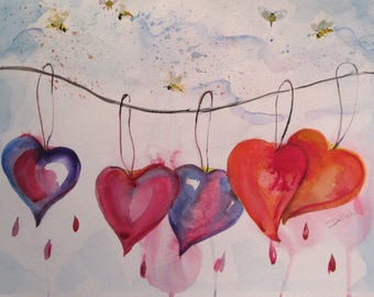 Hanging Hearts with bees original 12x18 contemporary watercolor painting Art by Delilah
