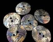 Round buttons for sewing raku clay metallic with textures