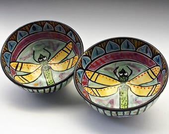 Medium Ceramic Serving Bowl, Dragonfly Mandala Bowl, Medium Pottery Bowl, Clay Majolica Bowl, Yellow Green, Mother's Day Gift - Gift for Her