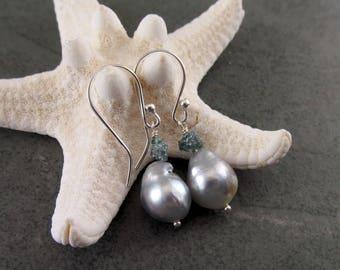 South Sea pearl earrings with rough blue diamond, handmade sterling silver earrings-OOAK June birthstone