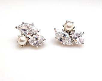 wedding bridal earrings bridesmaid  jewelry gift prom party christmas pageant marquise oval cubic zirconia pearl cluster post stud