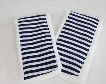 Navy Blue Stripe Burp Cloths - Set of 2