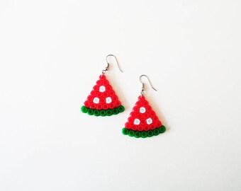Watermelon Pixel Art Earrings, Melon, Earrings, Handmade, Pixel Art Earrings, Summer Fashion, Summer Accessoires, Beach Style, Tropical