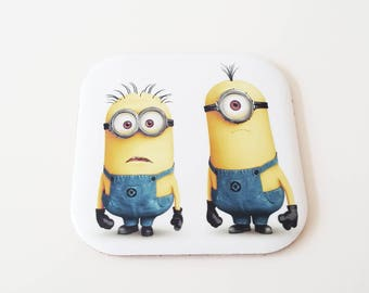 Minions Functional Coaster , Cork Coaster, gift for him, Gift for her, Cute, Gift for Coffee Lover