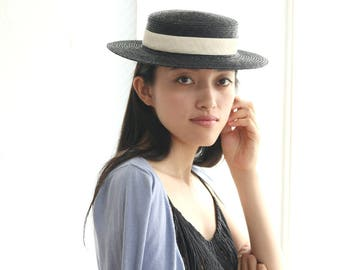 "Black Straw Boater Hat ""Black Vivien"""