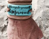 Beach bracelet, surf bracelet, yoga bracelet, silk wrap bracelet, Be a Mermaid, Make Waves, worry stone, Personalized, fused glass