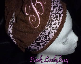 Hair Wash Turban - Chocolate Brown Embroidered with Believe - Ready to Ship