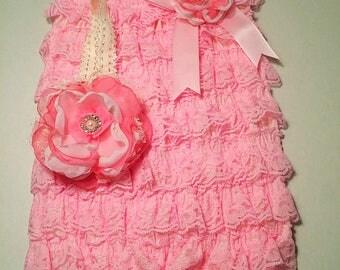 Newborn Coming Home Lacy Petti Romper Set Baby Girl Pink Organza flowers & Headband Wedding Special Occasion