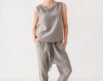 Grey Stripy Linen Harem Pants Trousers