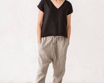 Natural Grey Linen Harem Pants Trousers