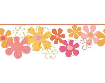 YK0145B Flower Power Yellow Pink Girls Wallpaper Border