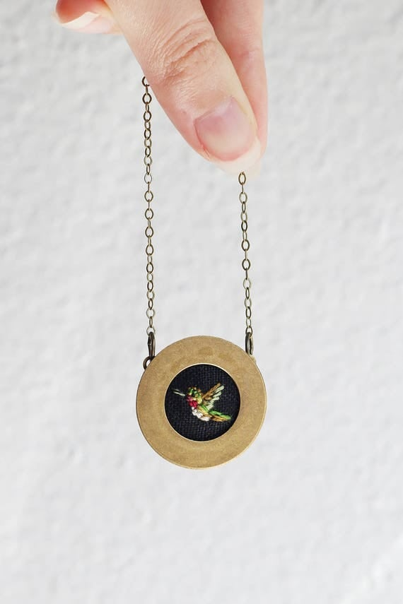 Hummingbird- hand embroidered necklace, miniature, bird, woodland