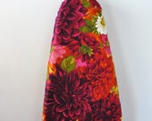 Ironing Board Cover - deep red  and pink dahlia blooms beautiful