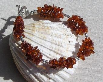 "Baltic Amber Bracelet ""Amber Melody"", Brown Bracelet, Healing Bracelet, Resin Bracelet, Golden Bracelet, Peace Bracelet, Fossil Bracelet"
