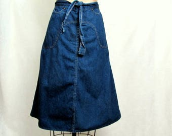 Vintage Dark Jean Denim Wrap Skirt Fancy Props by Wilkins Medium