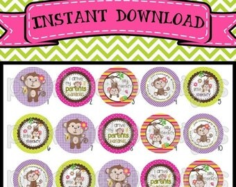 """20% OFF Silly Monkey - INSTANT DOWNLOAD 1"""" Bottle Cap Images 4x6 - 363"""