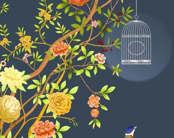 "Oriental Chinoiserie Birds Trees Flowering Peony Branch Wallpaper Pink Yellow Blossom Wall Mural 129.5"" x 93.7"""