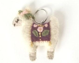 Blanketed Alpaca Keychain | Felt Plush, Bag Accessory, Bright, Colorful, Llama, Eclectic, Unique, Birthday Gift, Girlfriend Present, Cute |