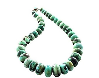 """40% Off Sale : ) TURQUOISE BEADS GRADUATED Rondelle Necklace 17"""" New World Gems"""