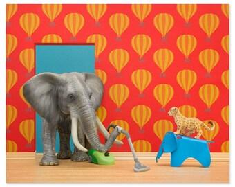Nursery decor animal art print with elephant: Tickle Trunk