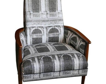 ON SALE Adrian Pearsall Chair with Walnut Frame Upholstered in Signed Fornasetti Fabric