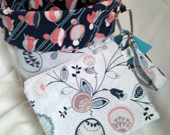 Reversible Standup Drawstring Bag Project Bag Set for knitters crocheters spinners felters Modern Blue/White Floral