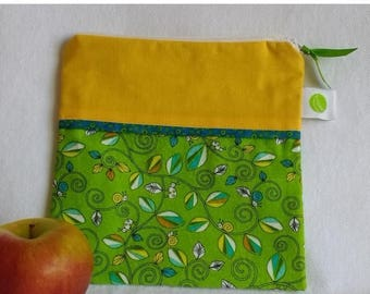 "On Sale Reusable, Zippered Sandwich Bag - 7.5"" x 7.5""- Food safe PUL lined, Zippered, Machine Washable"