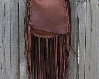 ON SALE Brown possibles bag , Fringed leather handbag, Brown leather handbag