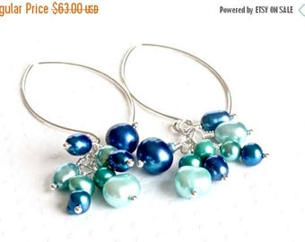 Blue Pearl Cluster Earrings, Freshwater Pearl Earrings, Long Dangle Earrings, Blue Pearl Earrings, Sterling Silver Earrings for Women