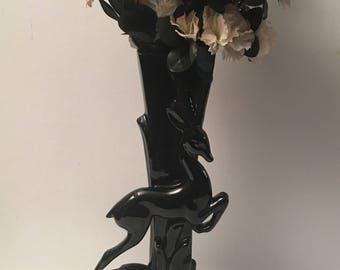 Royal Haegar Black Antelope Art Deco Vase