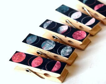 Eclipse Mini Clothes pins, Small Clothes pins, Small Art Projects, Kids, Organize, Back To School,  Mini Clips, Wood pins, Moon Phase